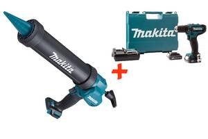Аккумуляторный пистолет для герметика Makita CG100DZA + Аккумуляторный шуруповерт HP333DWAE + 2 акб 12 V 2 Ah + з/у +...