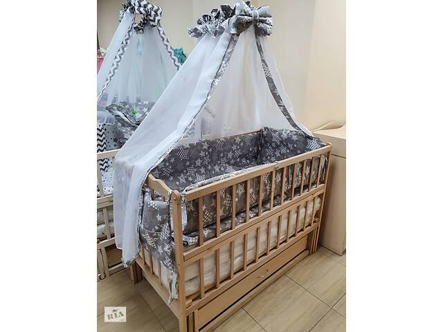 Акция! Комплект: кроватка маятник, матрас кокос, постель 8 элементов. Новое