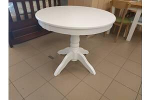 Дерев'яний стіл кухонний круглий розкладний Д90+40 буковий на кухню