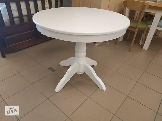 Дерев'яний стіл кухонний круглий розкладний Д90+40 буковий на кухню- объявление о продаже  в Львове