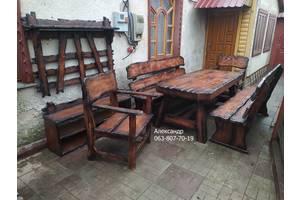 Деревянная Мебель под старину ( для бани, кафе ) стол, стулья, лавки