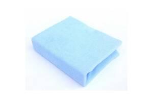 Детская махровая простынь на резинке для новорожденных Twins 120х60, голубая. Подарок новорожденному мальчику