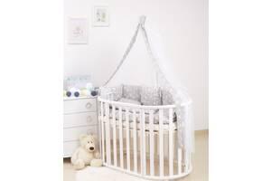 Дитяче ліжко на ліжечко Twins Dolce Лісові мешканці 8 елементів D-016, сіра