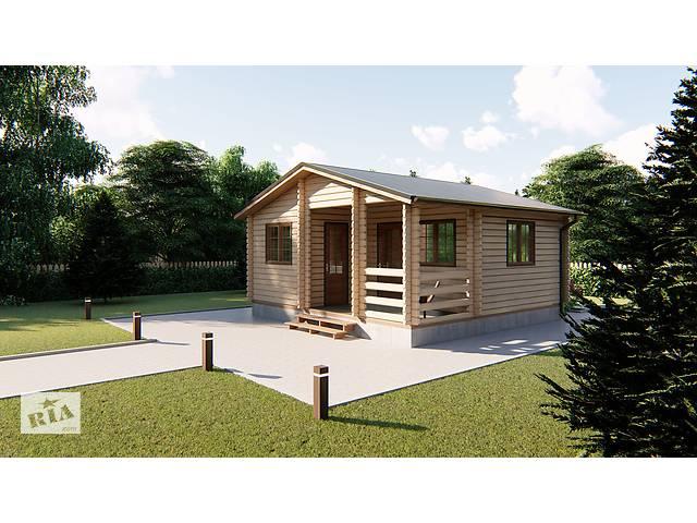 бу Дом деревянный из профилированного бруса 6х6 м с террасой. Кредитование строительства деревянных домов в Киеве