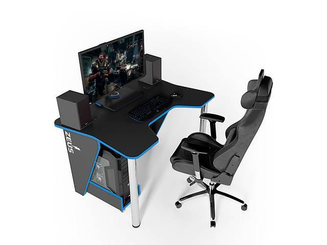 Геймерский игровой компьютерный прямой стол ZEUS™ / ЗЕУС™  IGROK / ИГРОК 3L с LED подсветкой Черный / Синий- объявление о продаже  в Киеве