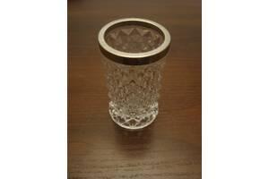 Хрустальная вазочка с серебряным ободком