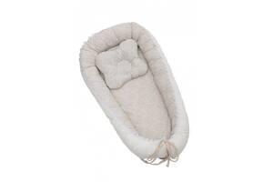 Кокон - гніздечко для новонародженого з подушкою Twins Ажур 82х44 см., Бежевий
