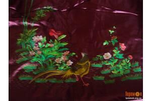Комплект покривало і наволочки на двоспальне ліжко атлас вишневе