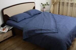 Комплект постельного белья Utorova Морская бездна Полуторный 2 наволочки лен Темно-синий (utr_0031)