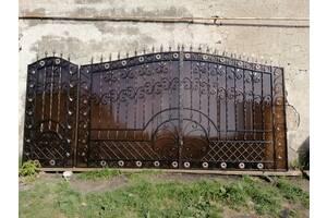 Ковані розсувні ворота з хвірткою, Код: В-0107