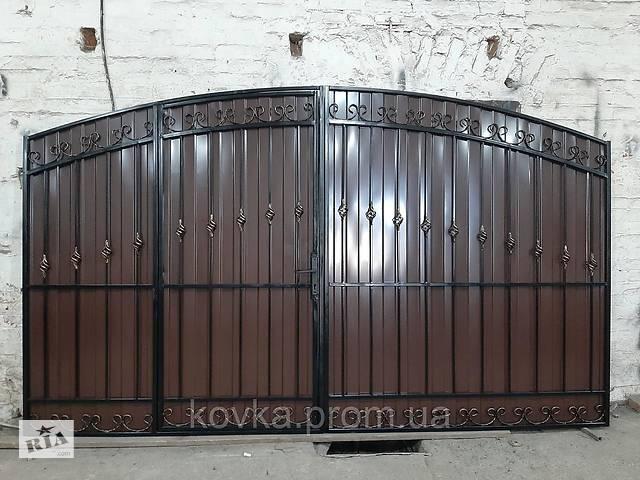 продам Кованые распашные ворота с встроенной калиткой, код: Р-0117 бу в Ладыжине