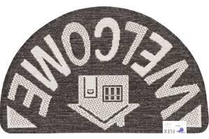 Коврик придверный Karat Flex 19164/80 50х80 см полукруглый черный-серый (6852)