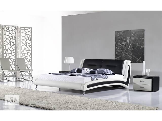 продам Кожаная двуспальная кровать Sonata Mobel B208 Бело-черная бу в Одессе