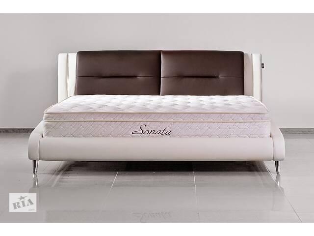 Кожаная двуспальная кровать Sonata Mobel B208 Молочный-венге- объявление о продаже  в Одессе
