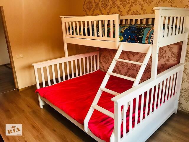 Кровать двухъярусная детская белая Жасмин Олимп Олигарх в наличии! с ящиками, деревянная