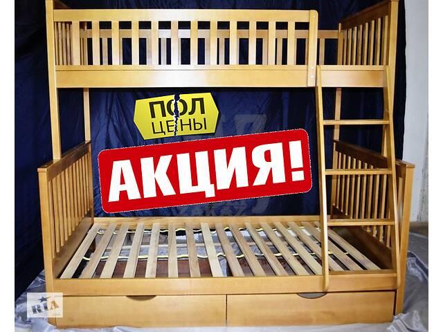 Кровать двухъярусная детская трехместная трехспальная Жасмин деревянная трансформер натуральное дерево ольха в наличии
