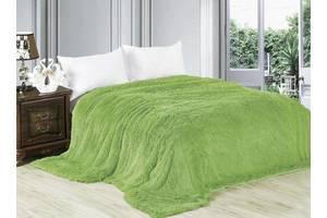 Меховой плед покрывало Травка Евро 220x240 зеленый SKL53-239932