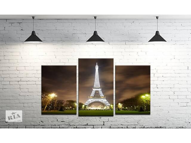 продам Модульная картина на холсте ProfART SM3-t152 100 х 53 см Ночная Эйфелева башня (hub_ruGN62760) бу в Одесі