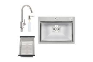 Набор 4 в 1 Qtap кухонная мойка D6045 2.7/1.0 мм Satin + смеситель + сушилка + дозатор для моющего средства