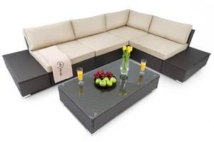 Диван для саду, комплект Malpensa - коричневий диван+столик