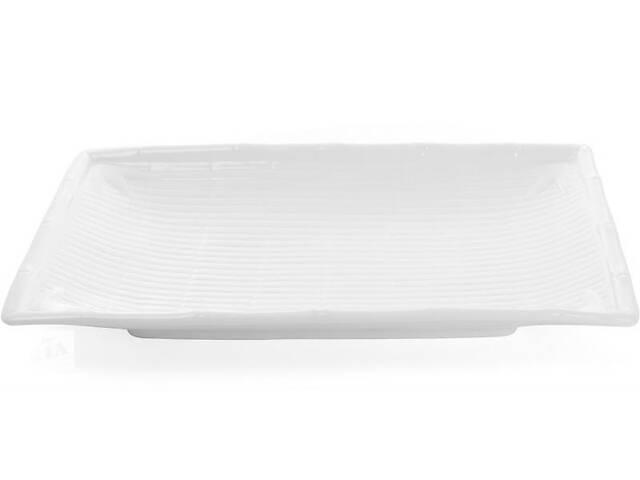 купить бу Набор 2 прямоугольные тарелки White City Бамбук 36х21 см для суши (белый фарфор) (psg_BD-988-127) в Киеве