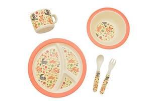 Набор детской бамбуковой посуды Eco-Friendly из 5 предметов (MH-2771-9) Енот