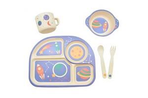 Набор детской бамбуковой посуды Eco-Friendly из 5 предметов (MH-2773-7) Ракета