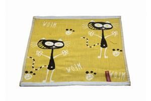 Набір бавовняних кухонних рушників Koloco 35x35 4шт Коти абстракція жовтий SKL53-239929