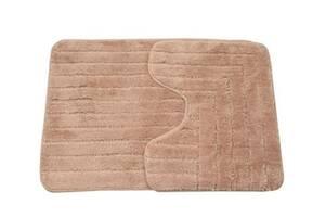 Набір килимків для ванної кімнати 2 в 1 бежевий 50х40 см + 50х70 см
