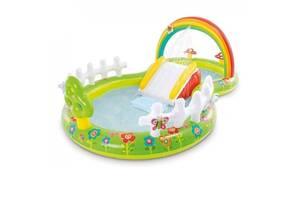 Надувной детский бассейн Intex 57154 Мой сад с надувными игрушками фонтаном и горкой 290х180х104 см Разноцветный (tsi...