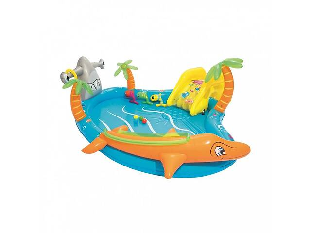 купить бу Надувной игровой центр с горкой и бассейном детский Морская жизнь Bestway 53067 (int_53067BW) в Одесі