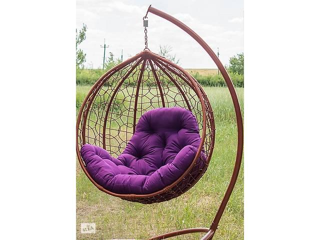 купить бу Подвесное садовое кресло качели кокон капля шар плетеное из ротанга Украинские Конструкции Эко-Премиум в Киеве