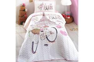 Покрывало подростковое стеганное хлопковое с наволочкой Aran Clasy 180x240 Paris Love SKL53-276744