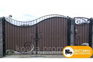 """Распашные ворота с калиткой из профнастилом - """"Волна"""" код: Р-01105"""