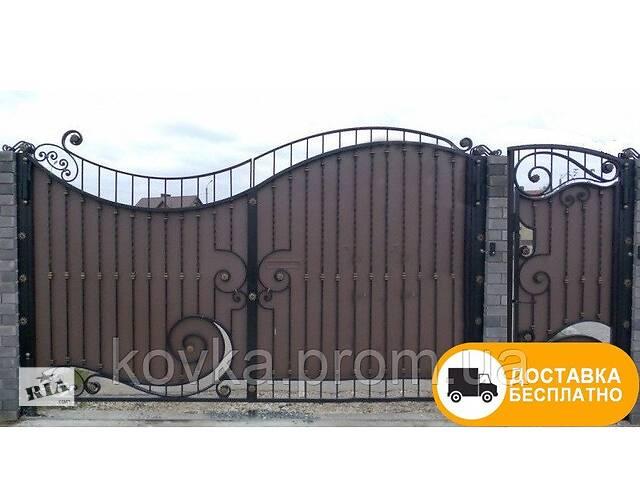 """продам Распашные ворота с калиткой из профнастилом - """"Волна"""" код: Р-01105 бу в Ладыжине"""