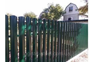 Штакетник глянцевый двухсторонний RAL 6005 (зеленый мох) металлический 130