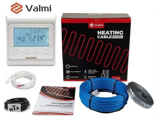 продам Тепла підлога Valmi 3 м²-3,8 м² / 600 Вт (30м) тонкий двожильний нагрівальний кабель 20Вт/м з терморегулятором E 51  бу в Києві