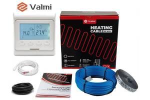 Теплый пол Valmi 9 м²-11,2 м² / 1800 Вт (90м) тонкий двухжильный нагревательный кабель 20Вт/м c терморегулятором E 51