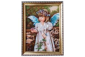 Янтарный ангелочек размером 15*20см