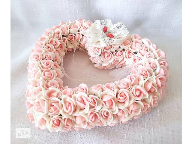 Свадебная подушечка для обручальных колец сердце из роз персиковая LA BEAUTY Studio Эксклюзив люкс- объявление о продаже  в Киеве