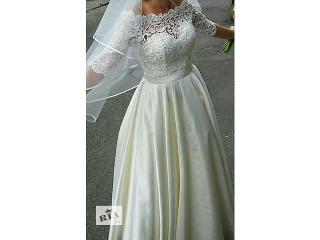 Атласное свадебное платье с кружевным болеро- объявление о продаже  в Киеве