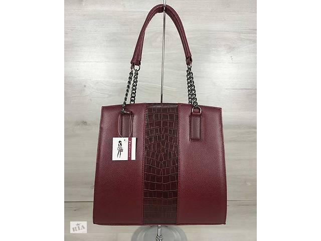 771df681fe5c купить бу Каркасная женская сумка Адела бордового цвета со вставкой бордовый  крокодил в Киеве