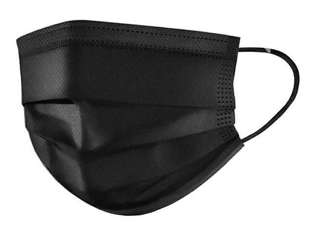 Маски медицинские пайка с фиксатором для носа одноразовые черные - от 50 штук