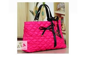 Велика стильна осіння жіноча рожева сумка з текстилю