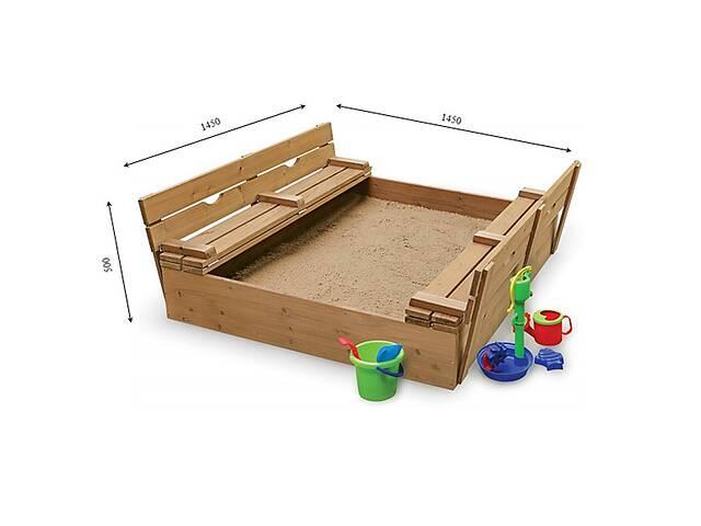 купить бу Детская песочница лакированная с крышкой и навесом 145х145х24 в Дубно