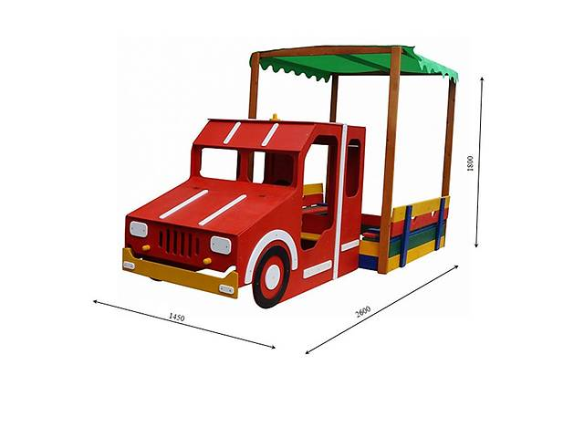 """Детская песочница с навесом и крышкой """"Пожарная машина"""" 145х145х150- объявление о продаже  в Дубно"""