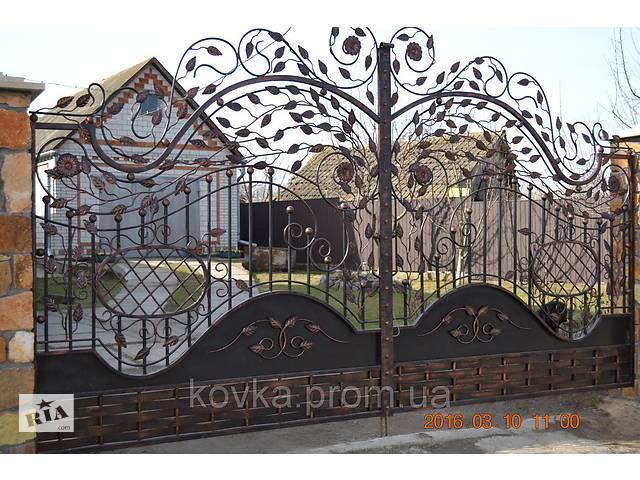 купить бу Ворота кованые с лепестками, код: 01016 в Ладыжине