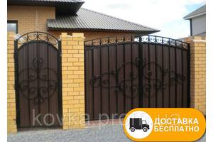 Ворота с коваными элементами и профнастилом, код: Р-0121