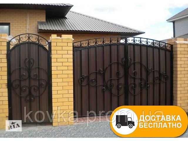 бу Ворота с коваными элементами и профнастилом, код: Р-0121 в Ладыжине