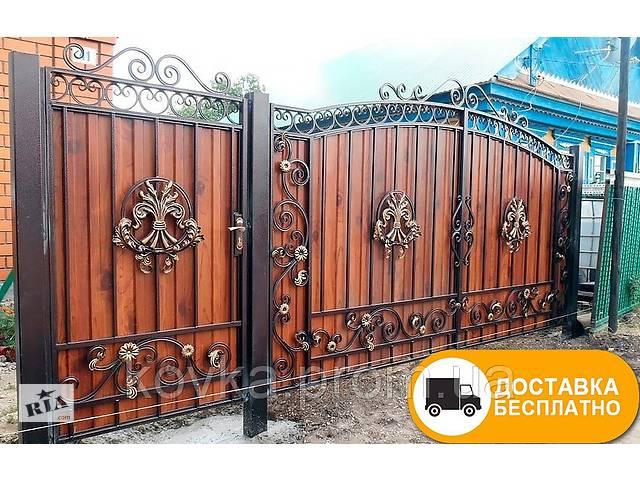 Ворота с коваными элементами и профнастилом, код: Р-0155- объявление о продаже  в Ладижині